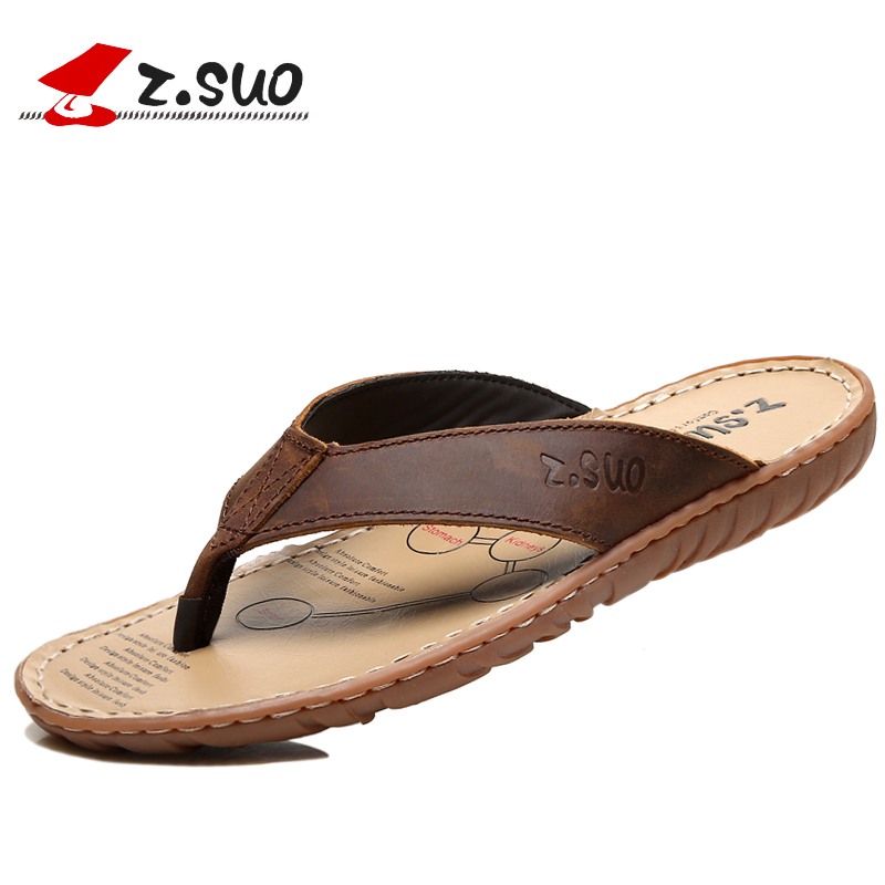 fc168a425d4dc US $15.3 15% OFF|Z.SUO 618N men's summer 100% genuine leather flip flops  breathable waterproof crazy horse leather beach slippers plus size 46 47-in  ...