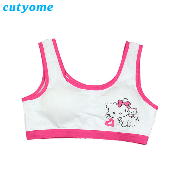 a19a2da01e4cf Cutyome Teenage Girls Small Bras Cotton Removeable Padded Thin Training Bra  for Children Comfortable Kids Puberty