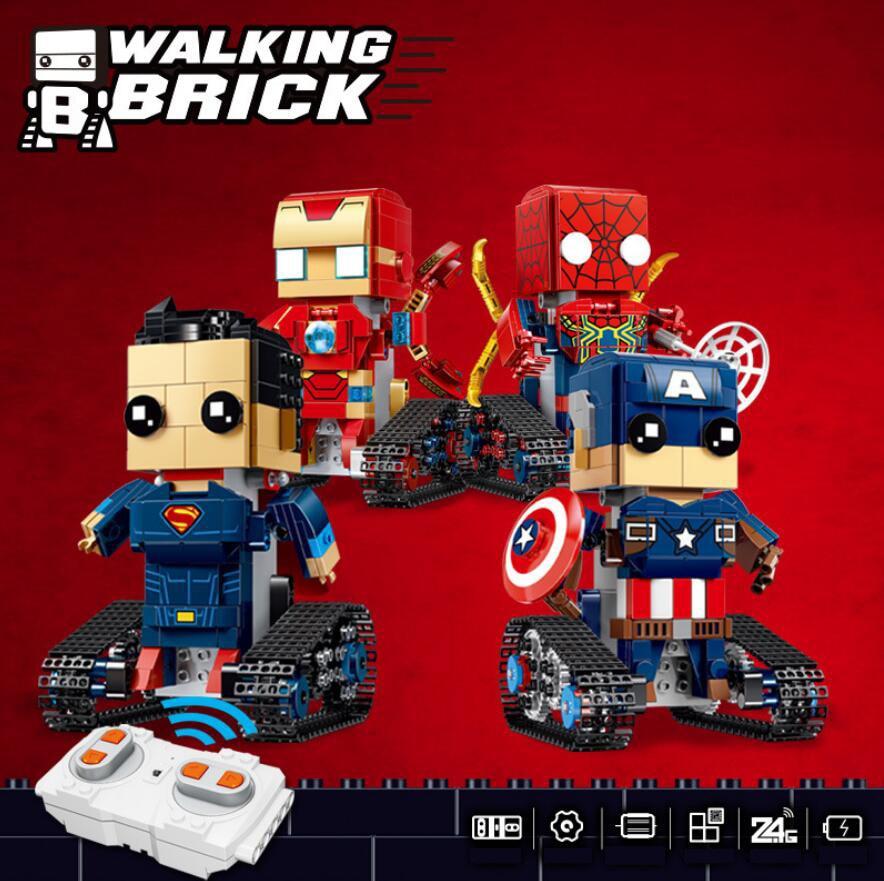 Technics radio remote control super heroes head Tracked vehicle bricks superman ironman spiderman captain america block rc toys