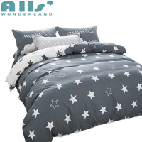 bedding sets black and white star print 100% cotton twin/double/queen duvet cover bed sheet pillows bedline for boys/boyfriend