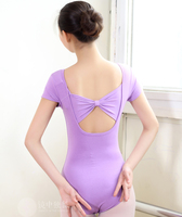 Short Sleeve Gym Suit Cotton Uniforms Ballet Dance Bowknot Suits Sexy Gymnastics Leotard Cotton Spandex Adult