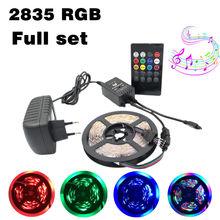цена на Waterproof SMD RGB LED Strip Light 2835 5M LED Light rgb Leds tape diode ribbon Flexible Music Controller DC 12V Adapter set
