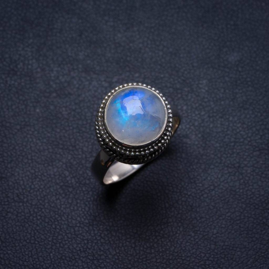 Natural Moonstone Handmade Unique 925 Sterling Silver Ring, US size 7 X1908 natural dendritic opal handmade unique 925 sterling silver ring us size 7 75 x1648