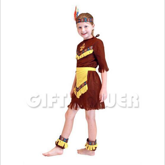 Карнавал Индийский Костюм для Девочки Дети Маскарад Партия Показать Одежда Детская Производительность Косплей Костюмы Fancy Dress GT153