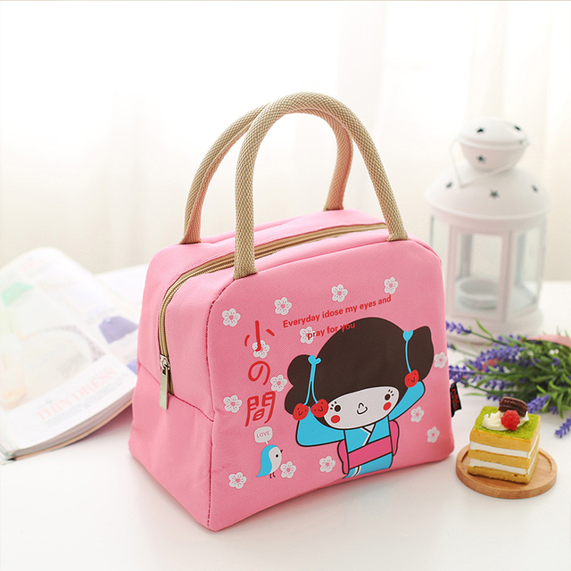 Hot Portable Travel Canvas Lunch Bag Cute Insulated Cold Oxford Cloth Picnic Totes Cartoon Carry Case Free Shipping