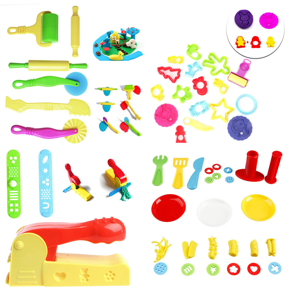 New 1Set Kids Plastic Mixed Plasticine Clay Dough Cutters Moulds Childrens Modelling Tool