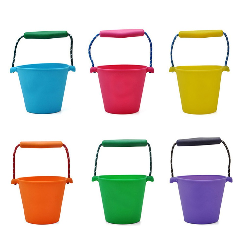 Children Bath Toys Beach Bucket Silicone Folding Hand Bucket Children Baby Beach Sand Play Water Pour Toy Color Bucket