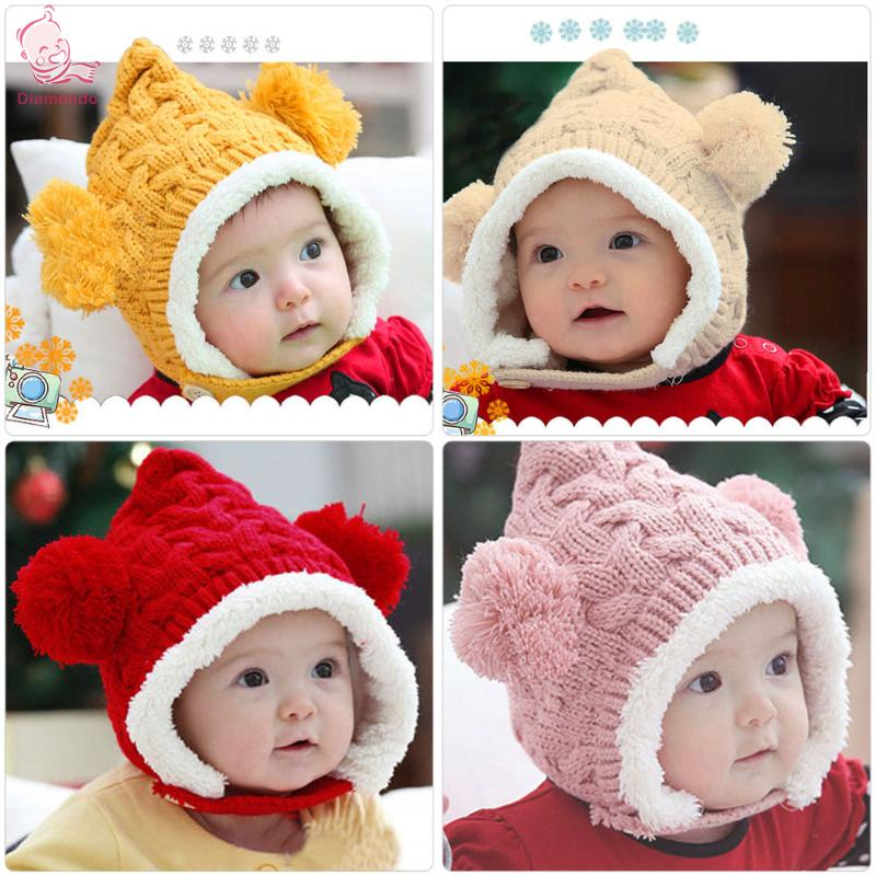 2018 New Girl Baby Hat Hats For Girls Winter Autumn Warm Baby Caps Dual Balls Ear Wool Knit Beanie Chidren Hat Cap For Boys Kids