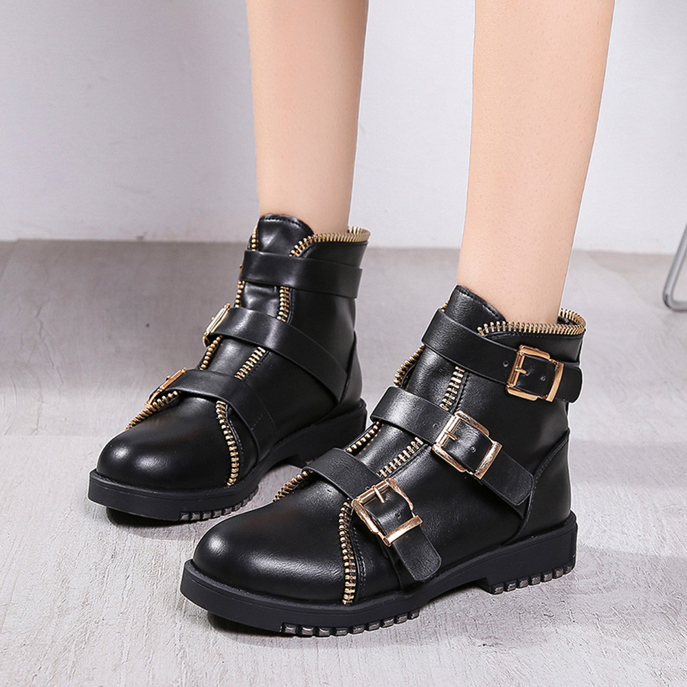 cc3fe41d7ae Vintage Women Round Tot Boots Leather Martin Shoes women boots ...