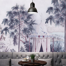 Custom Print DIY Fabric & Textile Wallcoverings For Walls Wall Mural Retro cotton and linen For Living Room European Landscape(China)