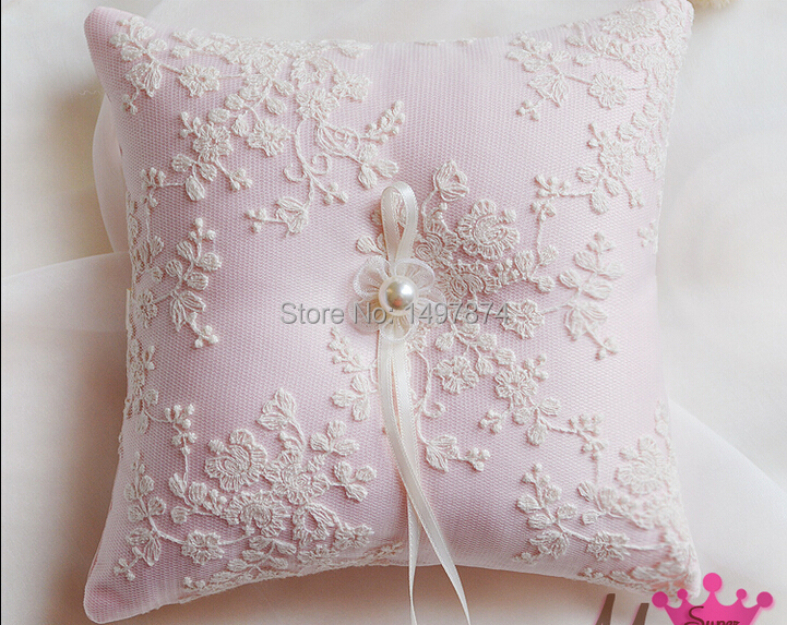 Trendy Bowknot Pocket Wedding favors bridal Ring Pillow pink singapore Pearl Cushion 16X16cm Beading lace ring pillow ceremony on Aliexpress.com | Alibaba ... & Trendy Bowknot Pocket Wedding favors bridal Ring Pillow pink ... pillowsntoast.com