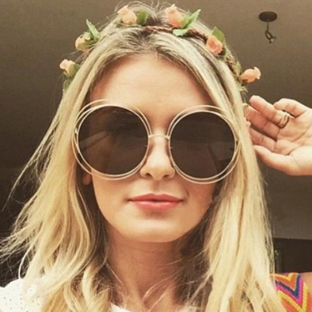 TSHING Novo círculo big rodada óculos moldura para mulheres bicíclico personalidade moda feminina oversized Óculos de sol Oculos Feminino