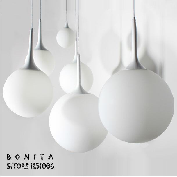 cord <font><b>pendant</b></font> lamp Modern minimalist Creative Spherical hanging lights bedroom Milky White Ball <font><b>pendant</b></font> lighting glass shades
