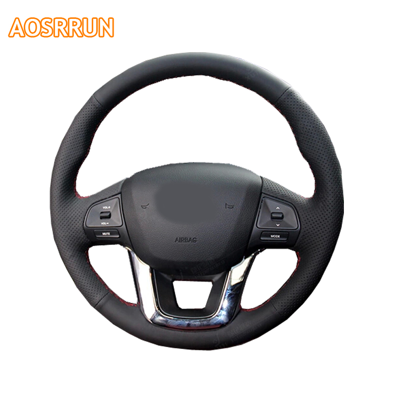 AOSRRUN Car accessories Leather Hand-stitched Car Steering Wheel Covers For KIA RIO 2011 2012 2013 2014