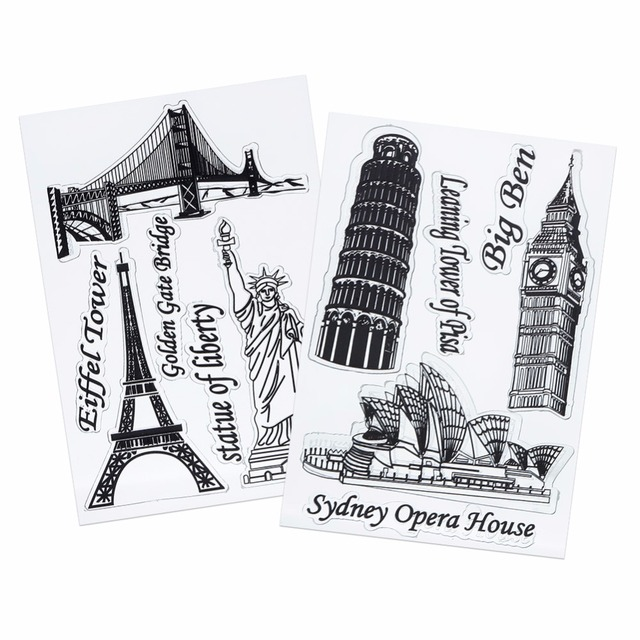 1 Sheet DIY Transparent Clear Rubber Stamp Seal Paper Craft Scrapbooking Decoration Eiffel Tower Sydney