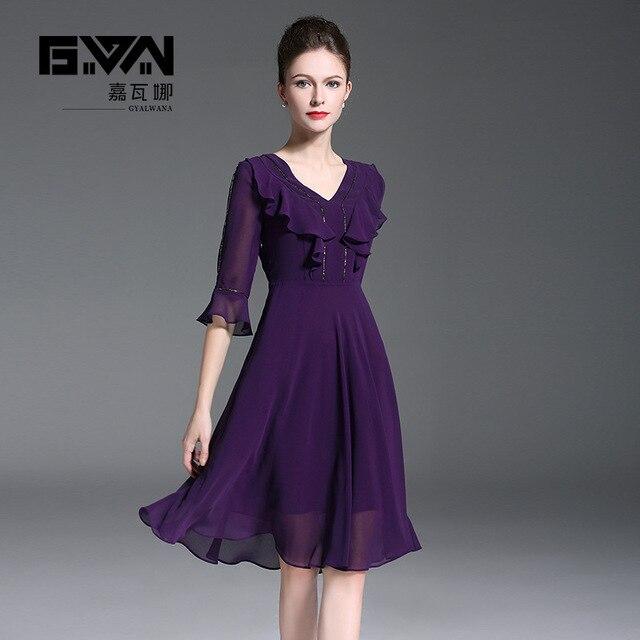 knee length elegant purple dress