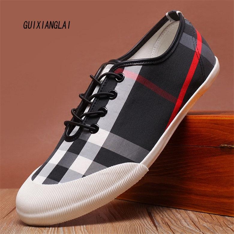 2017 Marca de la tela escocesa zapatos de lona hombres zapatos mocasines casuale