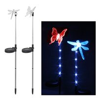 4 pcs Luminous Garden Decoration for Party Wedding Color Changing Butterfly Dragonfly With Stake LED Solar Garden Stake Light