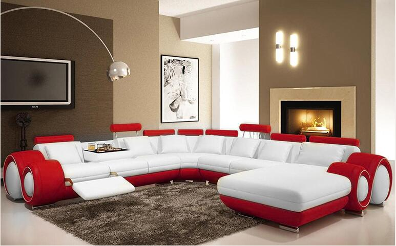 genuine/real leather sofa living room sofa sectional/corner sofa  home furniture couch/ u shape with recliners and cupboard european laest designer sofa large size u shaped white leather sofa with led light coffee table living room furniture sofa
