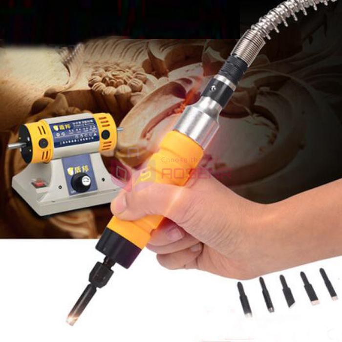 Wood Electric Carving Chisel Machine Tool With 5 Carving Blades Woodworking Electric Chisel Carving Tool 220V