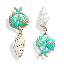 Summer Green Starfish Conch Dangle Earrings For Women Girl Geometric Earring Beach Jewelry Wedding Party