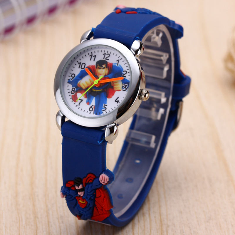 Cartoon Kids Watches Elementary School Students Silicone  Superman Spiderman Children Watch