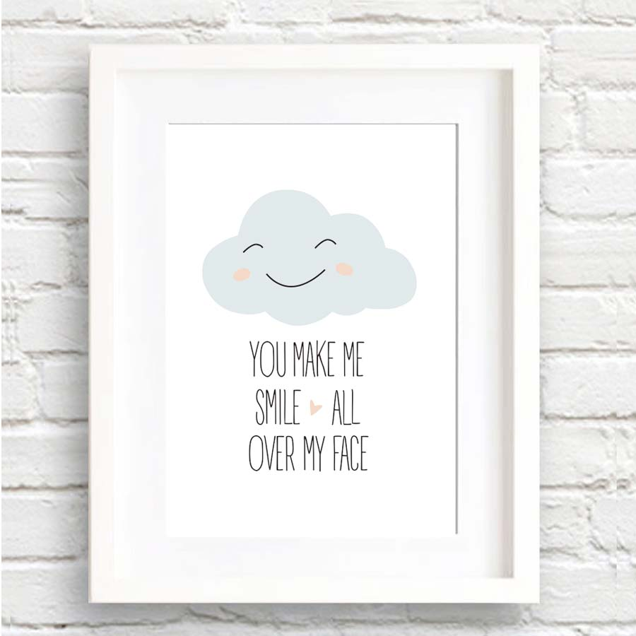 Quotes You Make Me Smile You Make Me Smile Cartoon Cloud Canvas Painting Inspiration Quotes