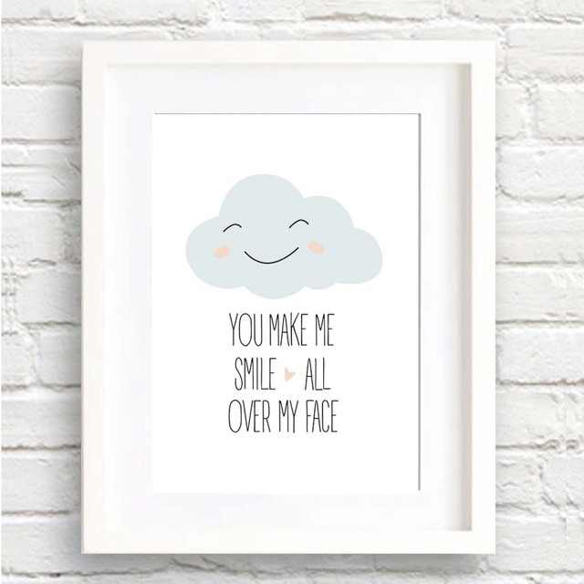 You Make Me Smile Cartoon Cloud Canvas Painting Inspiration Quotes