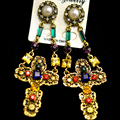 Queen Golden cutout vintage rhinestone Cross Earrings for Women baroque royal crystal gem big earrings
