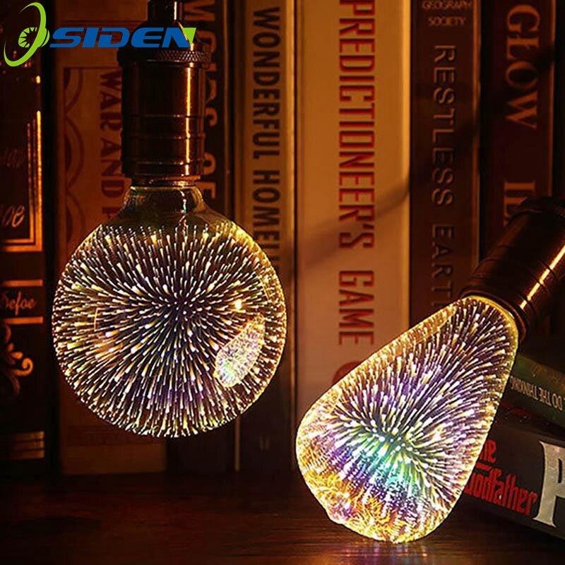 OSIDEN E27 3D LED Light Edison Bulb Decoration Lamp 85-265V Holiday Lights A60 ST64 G80 G95 G125 Night Lamp ChristmasDecoration