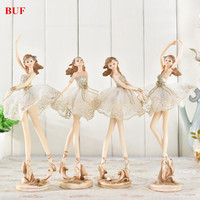 BUF Resin Craft Ballet Beauty Statue Resin Ornaments Home Decoration Accessories Craft Statue Creative Girl Sculpture Gift
