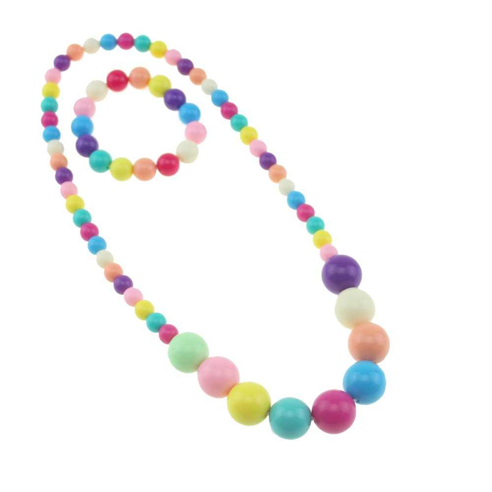 Candy Color Necklace and Bracelets Beaded Charming Necklace Children Cosplay Accessory Pink Girl Party Multicolor Jewelry
