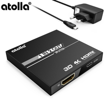 atolla HDMI Splitter 1 In 2 Out,Mini 2 Port 4K Switcher Cable with 5V/1A Power Adapter, Supports HDCP,1080P,for HDTV,DVD XboxPS3 2 port 1 4 hdmi splitter 1x2 hdmi switch 5v power supply adapter 1 in 2 out switcher support 3d for audio hdtv 1080p vedio dvd