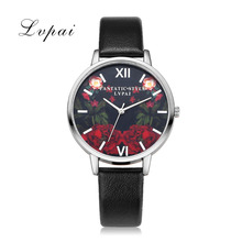 2017 Lvpai New Sliver Flowers Black Dial Fashion Watches Women Leather Bracelet Wristwatches Ladies Casual Simple Quartz Watch