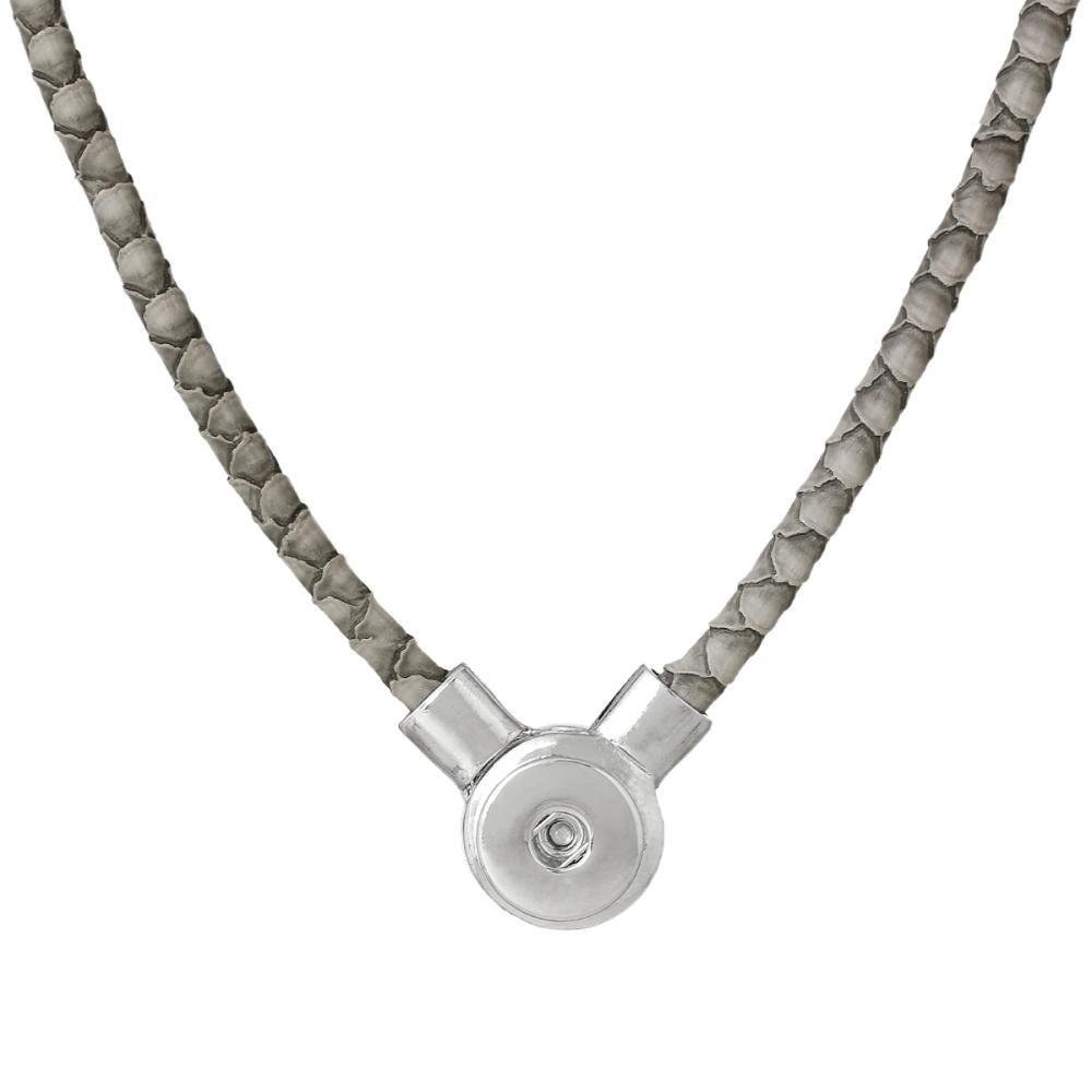"DoreenBeads PU Fashion Snap Jewelry Necklace Gray Silver Tone 50cm x2.3cm(<font><b>19</b></font> 5/<font><b>8</b></font>"" <font><b>x</b></font> <font><b>7</b></font>/<font><b>8</b></font>""),Snap Hole: 6.0mm,1 PC"