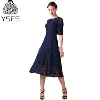 Navy Blue Lace Tea Length Bridesmaid Dresses 2017 A Line Half Sleeves Elegant Lace Women Bride