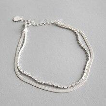 100% 925 Sterling Silver Bracelet Women 2019 Fashion Double Chain Bracelet Bangles High Quality 925 Silver Jewelry Gifts цена 2017