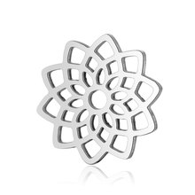 10pcs 316L Stainless Steel Double Side Polished Hollow Out Lotus Flower Yoga Chakra Charm Pendant for DIY Jewelry Making Finding цена и фото
