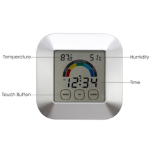 Newest LCD Display Digital Time Clock Desk Table Clock Thermometer Hygrometer Electronic Touch Type Weather Clock With Magnets