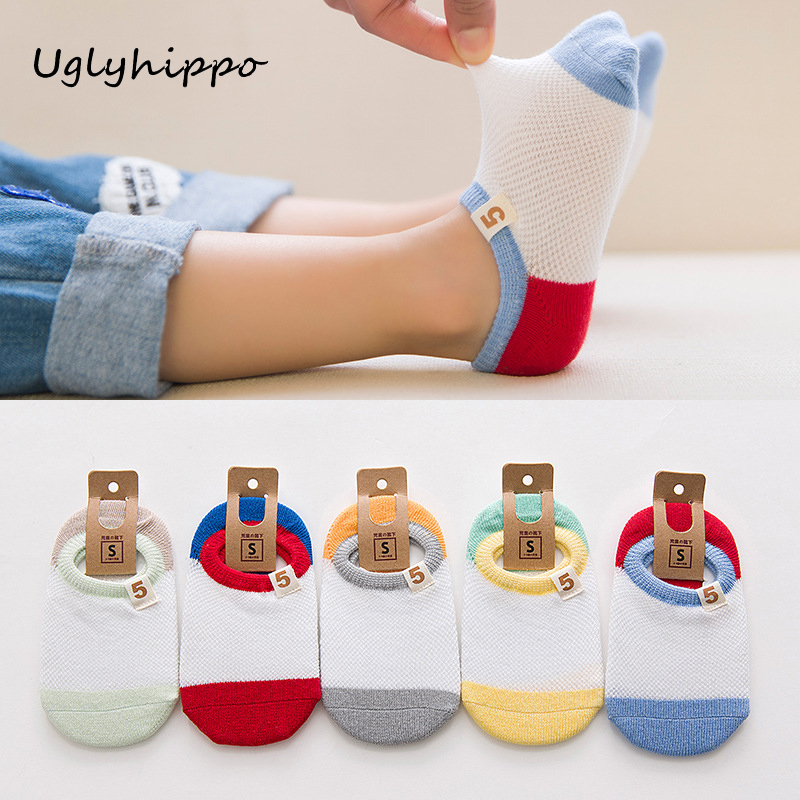 Casual Children Sneaker Sport Socks 5 pairs/lot Cotton Colorful Solid Summer Kids Low Cut Crew Boat Socks S1K6