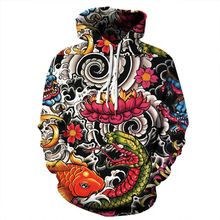 New Fashion Brand Hoodies Men/Women Thin 3d Sweatshirts Print Carp Hooded Tops  Tracksuits Streetwear