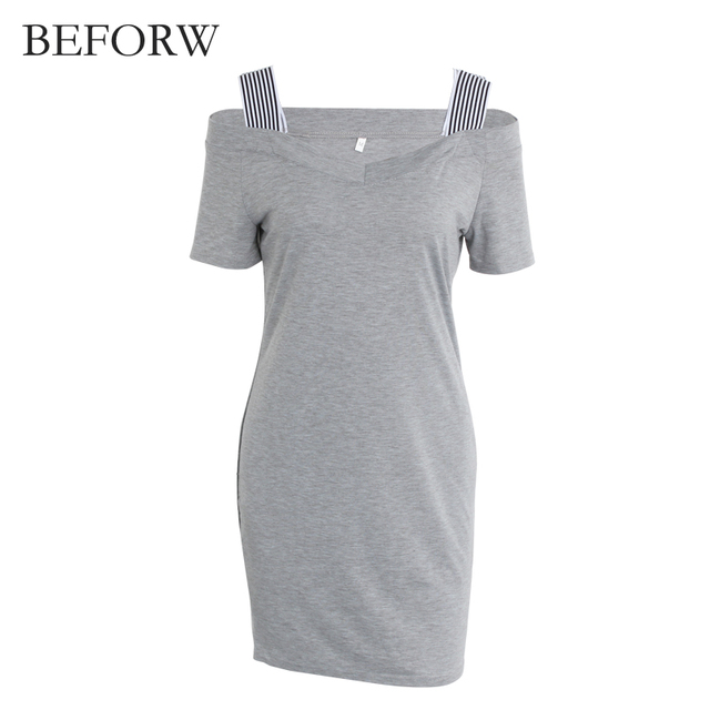 BEFORW Summer Women Dress Sexy V Collar Dresses Fashion Gray Backless Short Sleeve Womens Clothing Casual Dress Vestidos