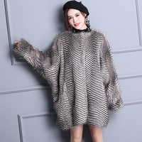 Nerazzurri Winter Elegant Faux Fur Coat Women Warm Gradual Color Luxury Fluffy Loose Oversized Bat Sleeved furry Fake Fur Jacket