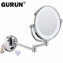 Gurun LED Makeup Mirror Fashion Induction lamp LED mirror reversible fixed on the wall support can