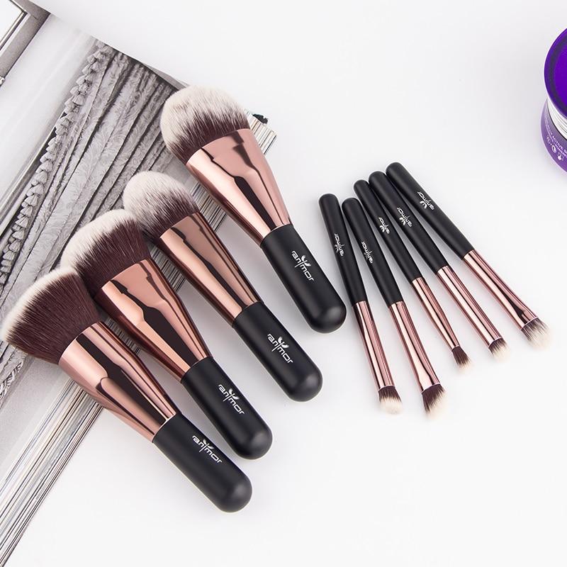 Anmor Lovely Travel 9 st Makeup Brush Set Syntetisk Mini Makeup Brushes Med Bag MBC03