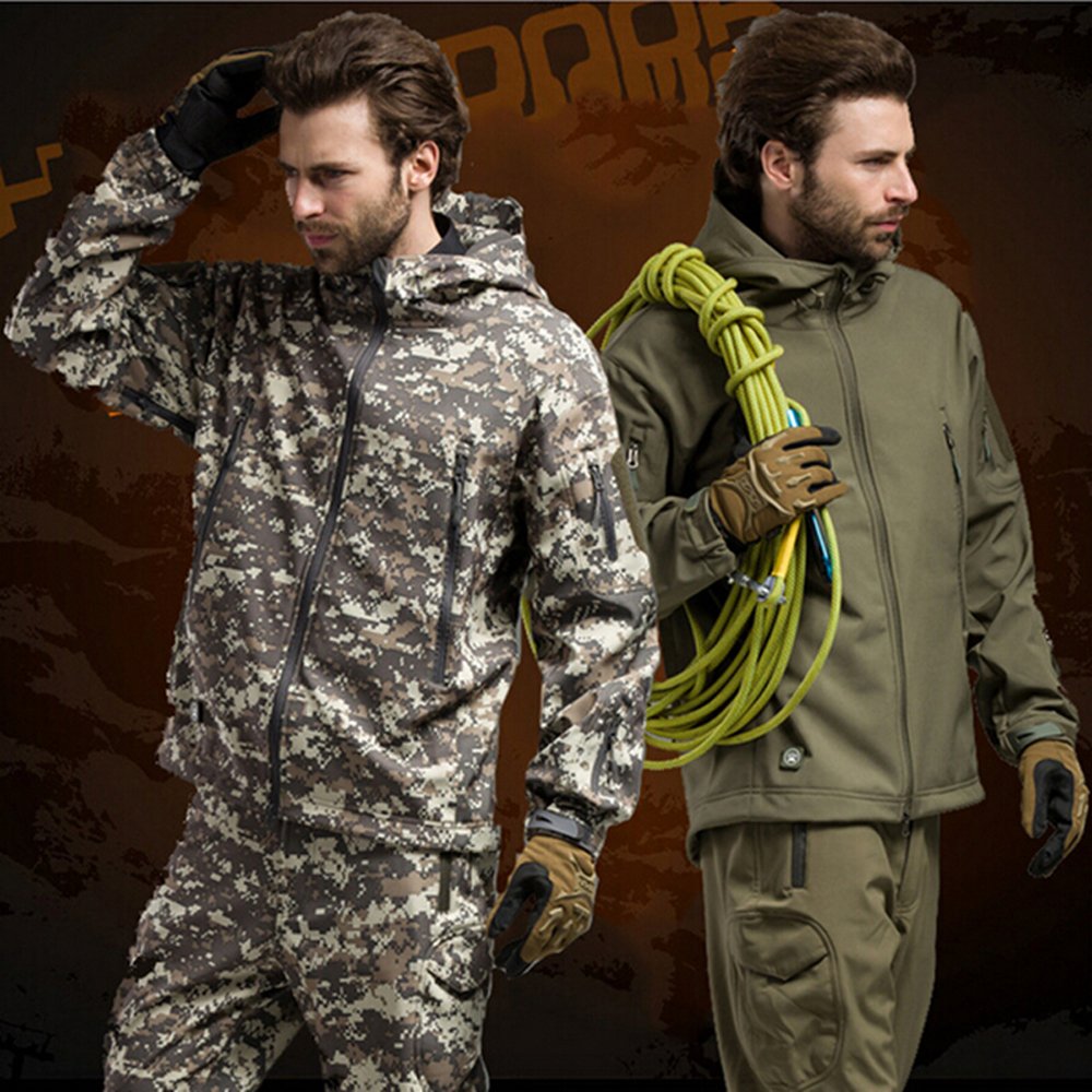 1 ensemble Sport chasse Ghillie costume pour randonnée Camping doux Shell polaire veste + pantalon tactique randonnée chasse pêche vêtements