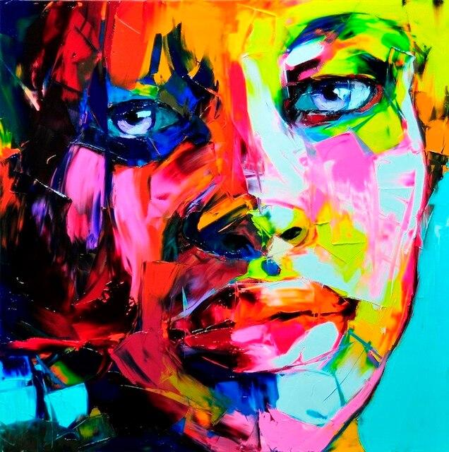 Très Couteau Peinture Abstraite Portrait Visage Huile sur toile de  KB78