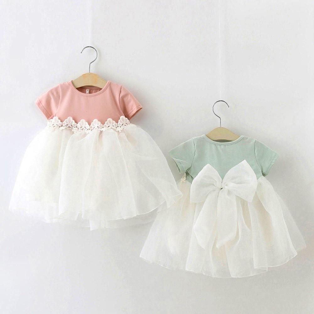 HE Hello Enjoy Baby Girl Dress 1 year birthday dress lace infant baptism vestido infantil bowknot princess wedding dress 3