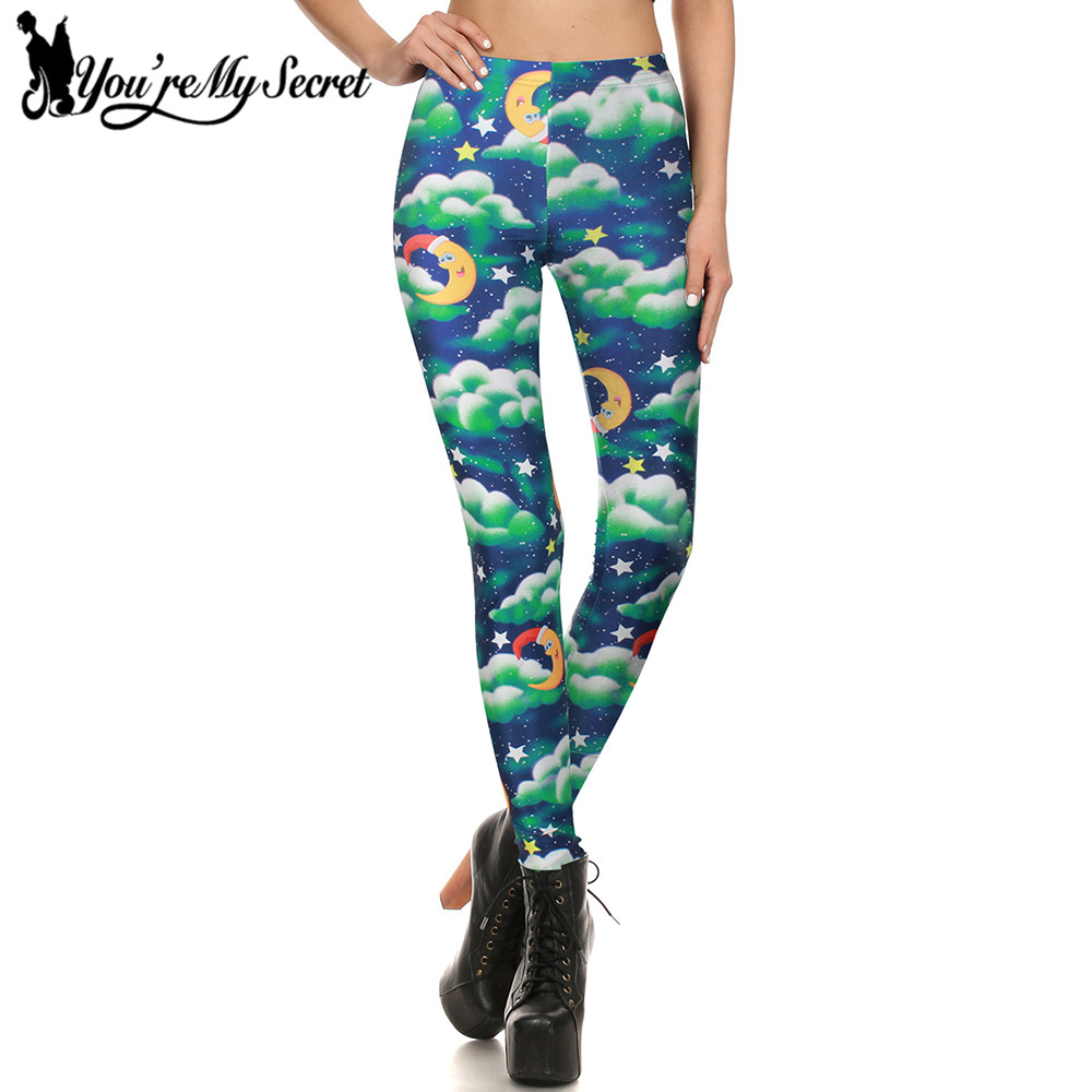 [Youre My Secret] Christmas Eve Clouds Galaxy Slim Leggings Women 3d Printing Xmas Night Fitness Leggins Womens Winter Pants