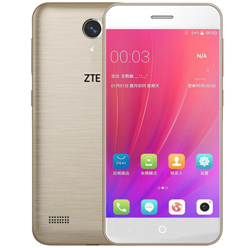 D'origine ZTE Lame A520 Mobile Téléphone 2G RAM 16G ROM 5.0 pouce Dua Kartu SIM Avant et Arrière Caméra Quad Core 720 P Android 6.0